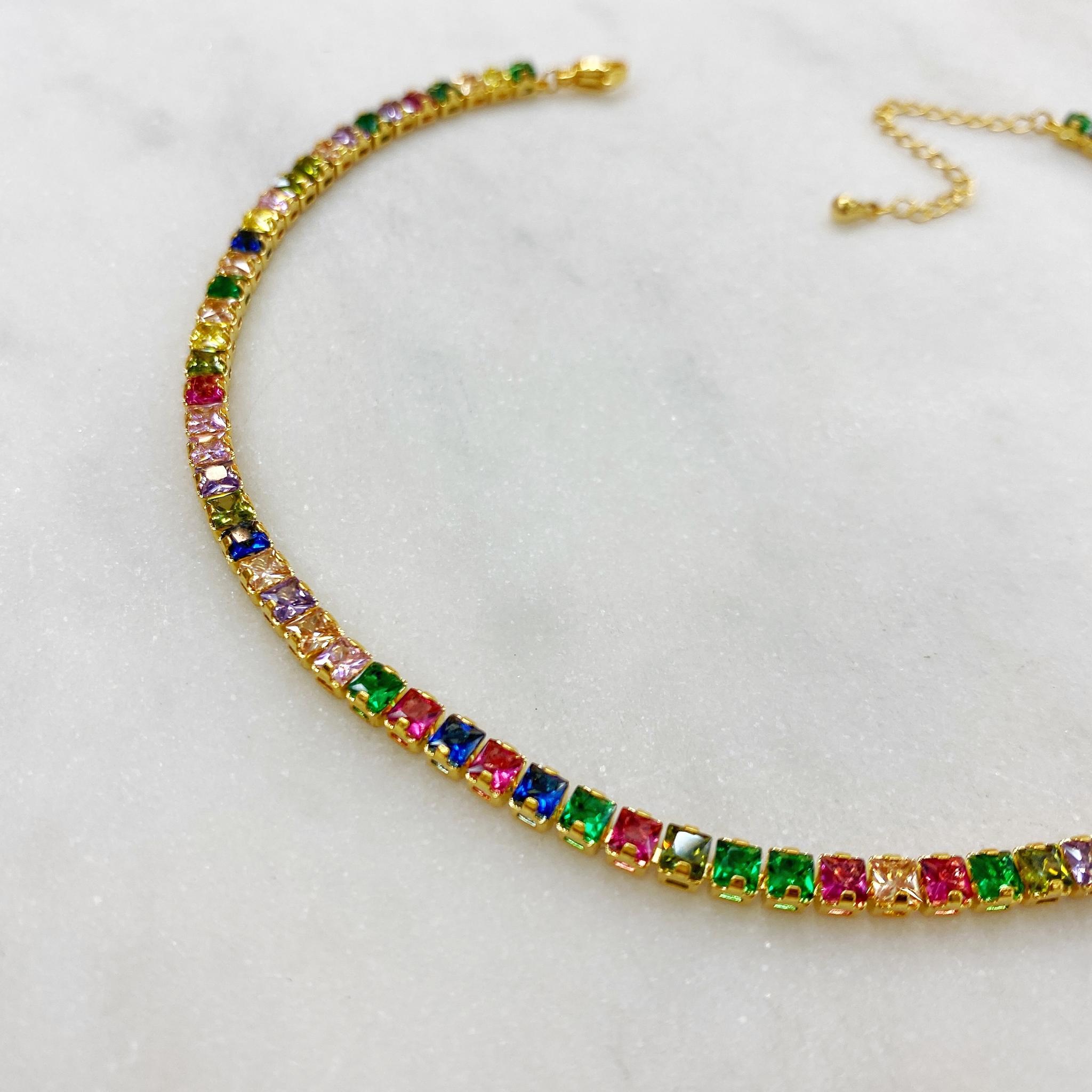 Колье-чокер с цветными кристаллами, сталь (золотистый)