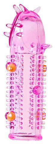 Розовая насадка на пенис с закрытой головкой - 11,5 см.