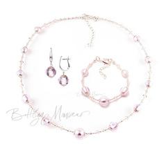 Комплект Примавера розовый (серьги на серебре, ожерелье, браслет)