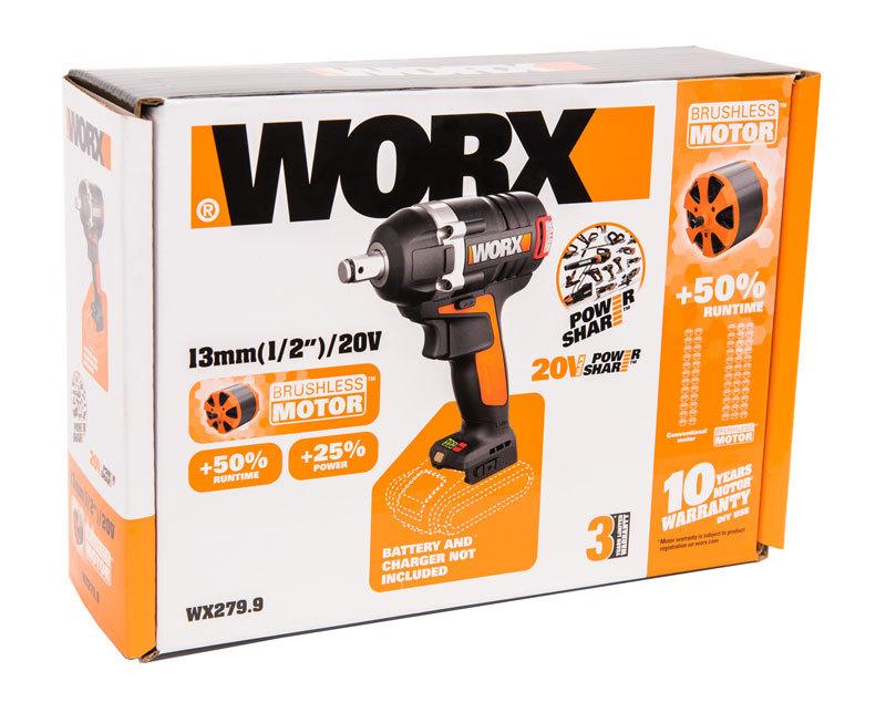 Гайковерт аккумуляторный WORX WX279.9, 20В, бесщеточный, без АКБ и ЗУ