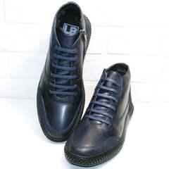 Модные мужские зимние ботинки кожаные Luciano Bellini BC2802 L Blue.