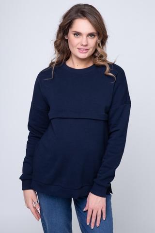 Утепленный свитшот для беременных и кормящих 12236 синий
