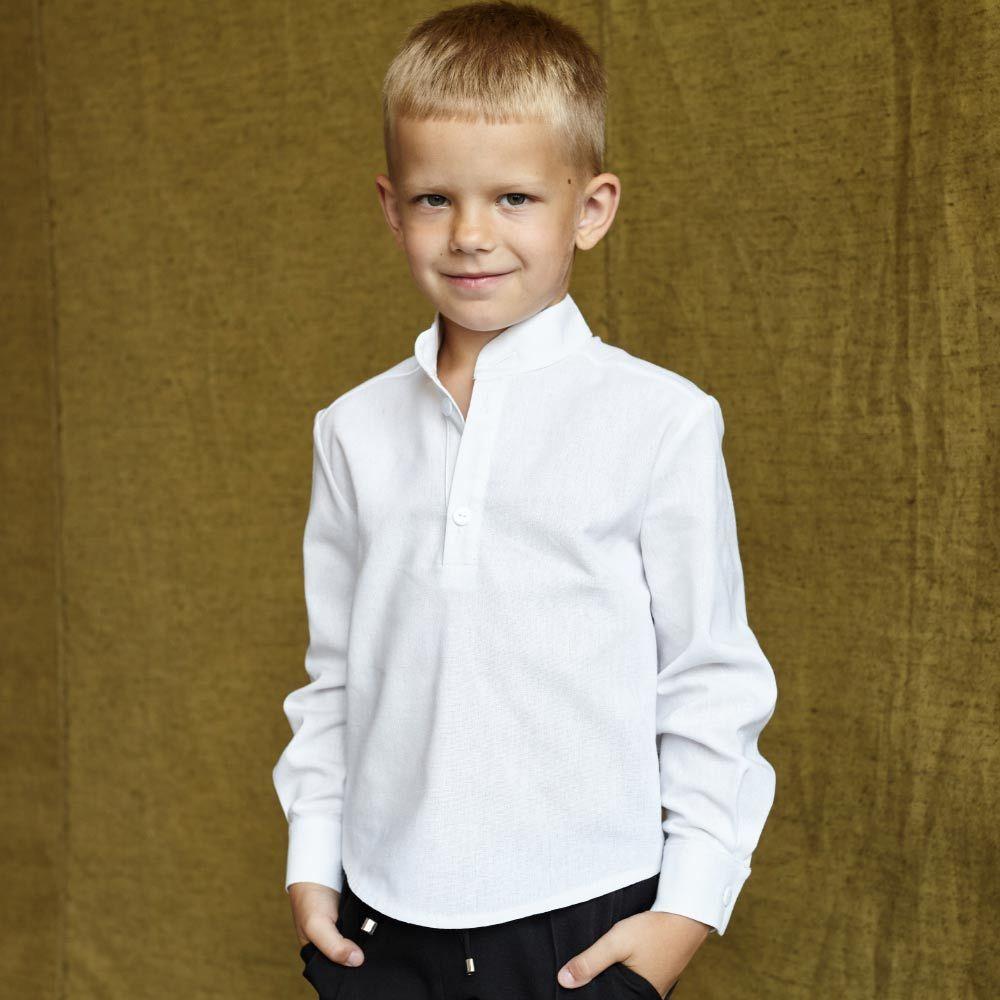 Детская рубашка со льна в белом цвете для мальчиков