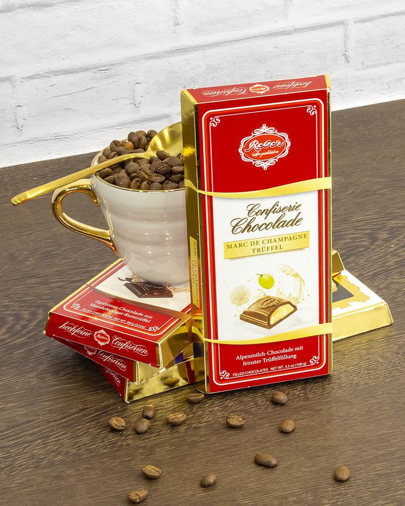 Молочный Шоколад Reber с Трюфельной Начинкой со Вкусом Шампанского 100 г