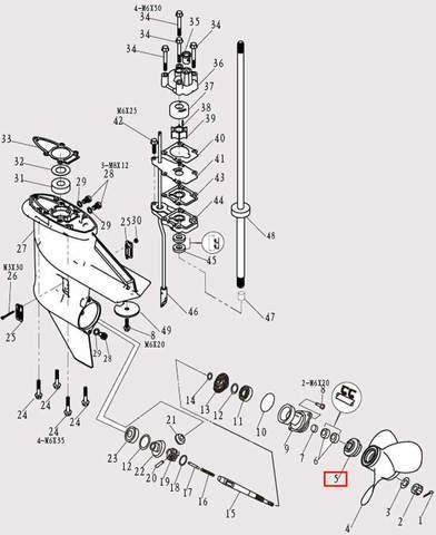 Упорная шайба винта для лодочного мотора F9.8 Sea-PRO (12-5)
