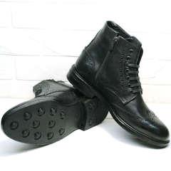 Теплые ботинки мужские на шнуровке LucianoBelliniBC3801L-Black.