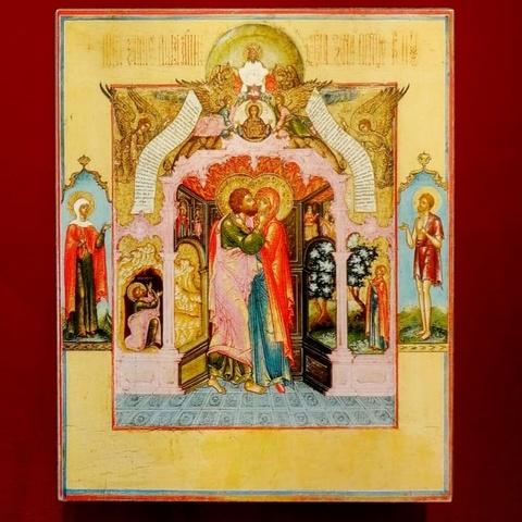 Икона Зачатие Пресвятой Богородицы на дереве на левкасе мастерская Иконный Дом