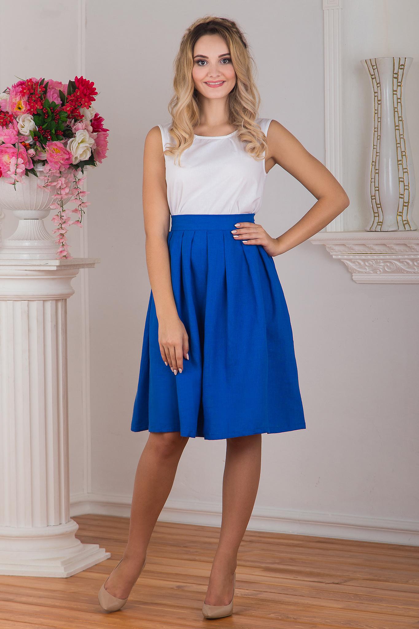 Блуза белая с юбкой Синева