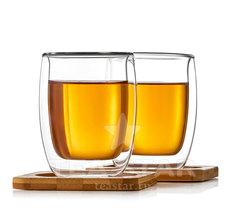 Два стакана с двойными стенками и подставками, 200 мл