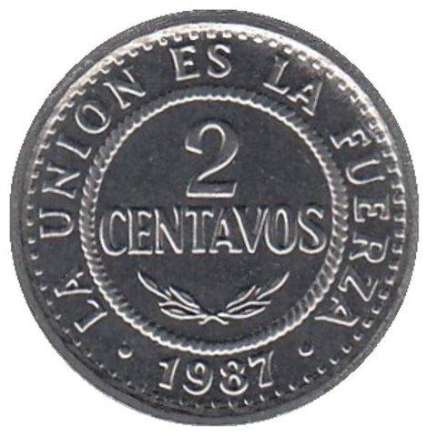 2 сентаво Боливия. 1987 год. UNC