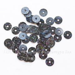 Пайетки черные с голограммой, 6 мм, 10 грамм