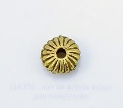 Бусина металлическая - рондель 5х3 мм (цвет - античное золото), 10 штук