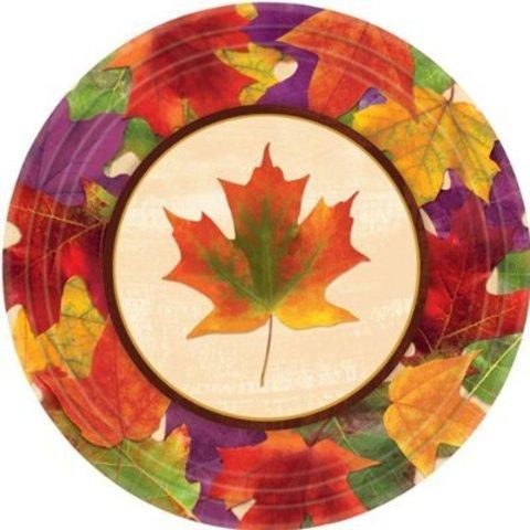 Тарелки большие Кленовый лист, 8 штук