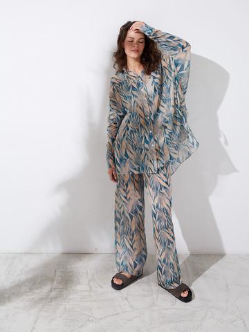 Рубашка из шелка и хлопка Листья синий