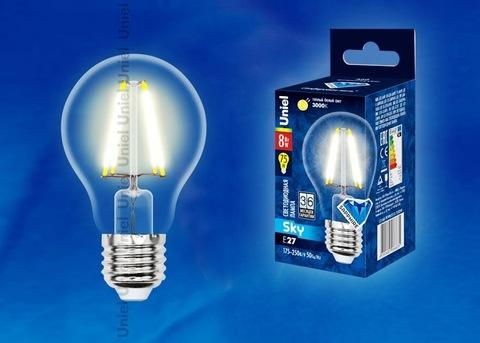 Uniel Лампа LED-A60-8W/WW/E27/CL Sky (теплый свет)