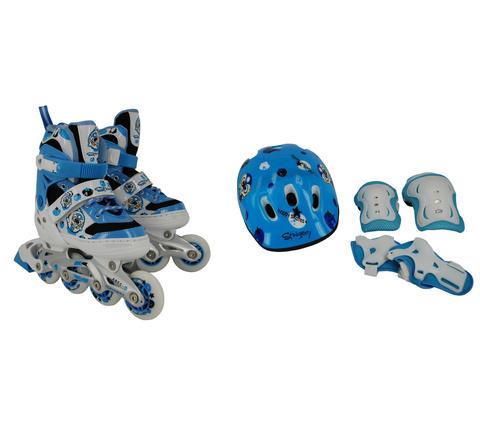 Набор для кат. на рол. коньках BW-906SET-BL, р.S (31-34), цв.син. ролики раздв, шлем, защита