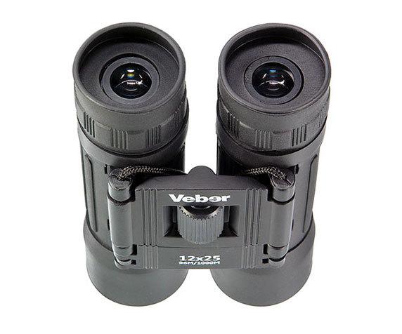 Окуляры с резиновыми наглазникам Veber Sport 12x25