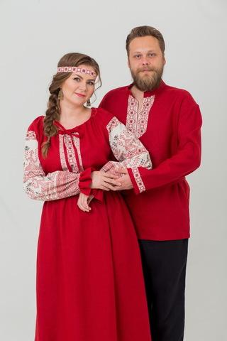 Комплект Брусничный цвет платье и рубаха