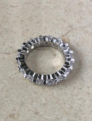 Кольцо Роял с цирконами, серебряный цвет
