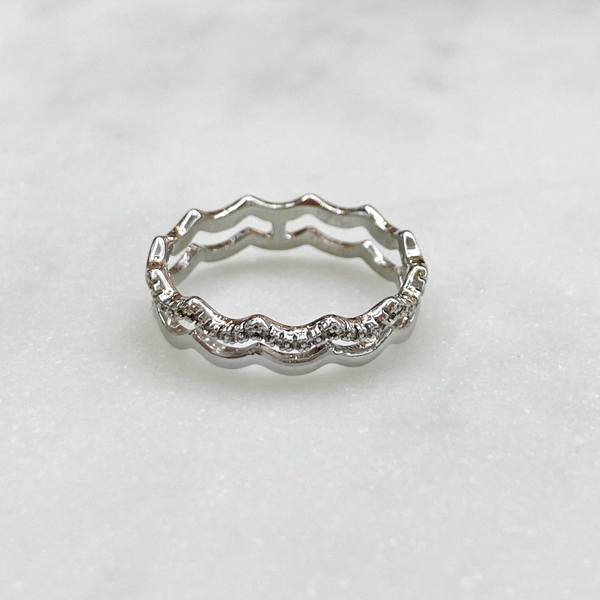 Кольцо двухрядное в форме зиг-зага