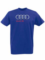 Футболка с принтом Ауди A6 (Audi A6) синяя 008