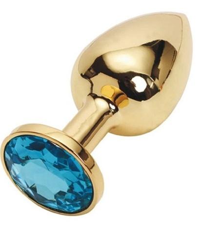 Анальная пробка золотая с голубым кристаллом S 2,8 х 7,6 47057-MM