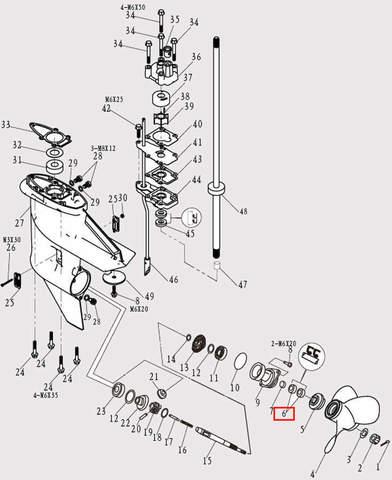 Сальник вала винта 15х28х10 для лодочного мотора F9.8 Sea-PRO (12-6)
