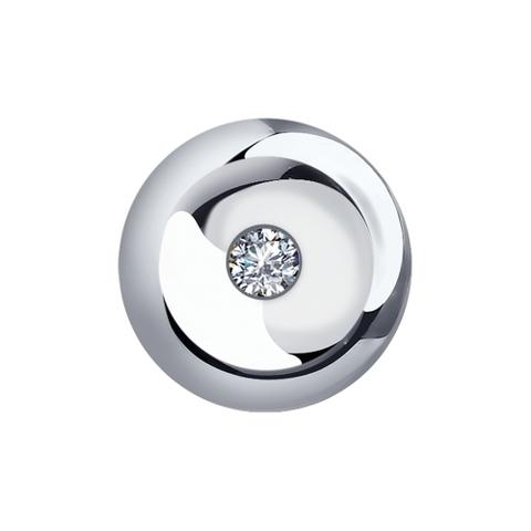 1030718- Подвеска круглая из белого золота 585 пр с бриллиантом
