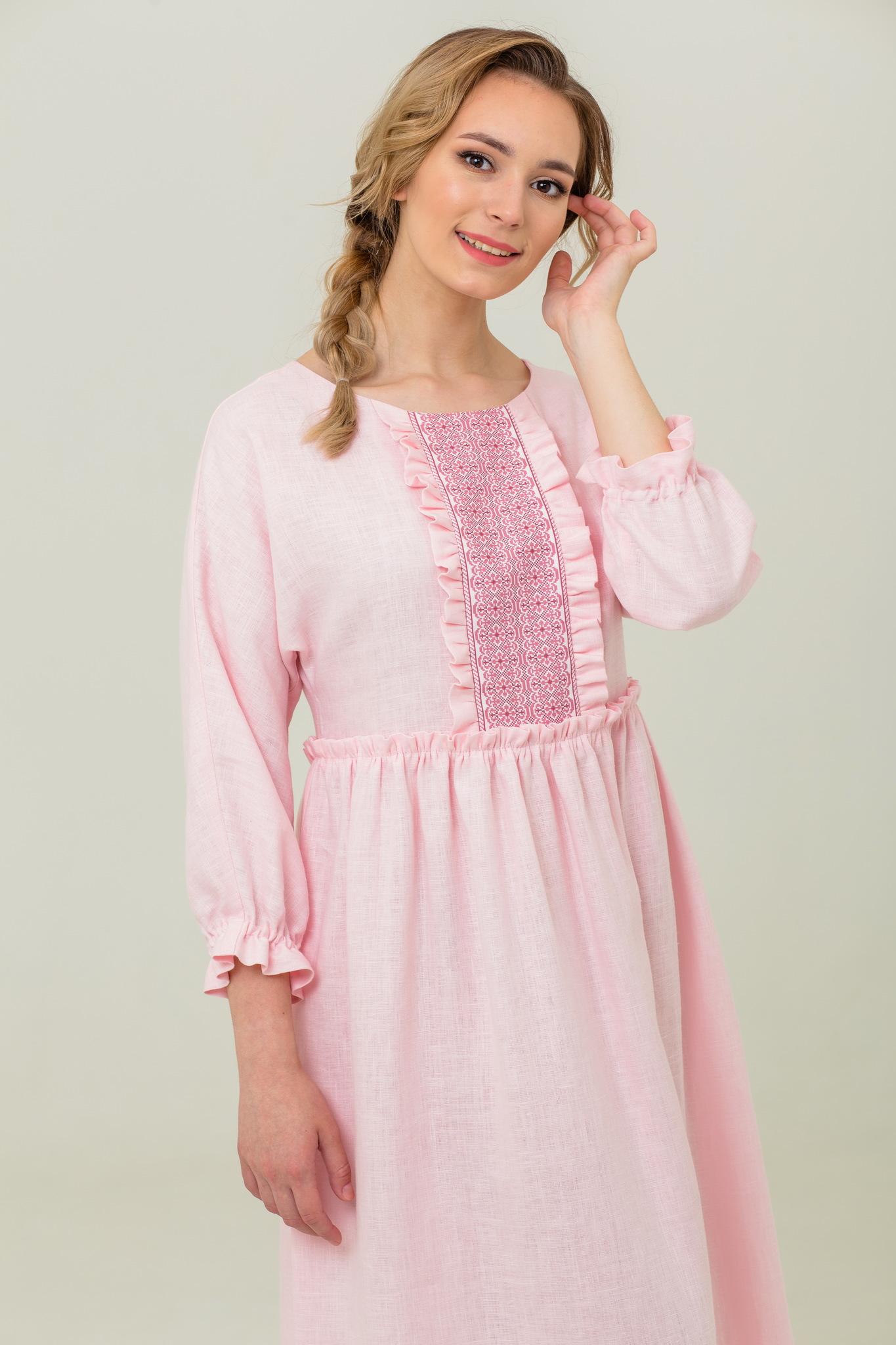 Льняное платье с обережным орнаментом Цветущий шиповник