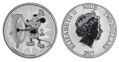 1 доллар. Микки Маус. Пароходик Вилли.  Ниуэ. 2017 год