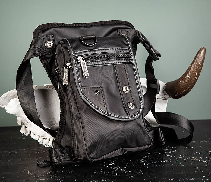 BAG397-1 Набедренная сумка черного цвета из ткани «Оксфорд» фото 02