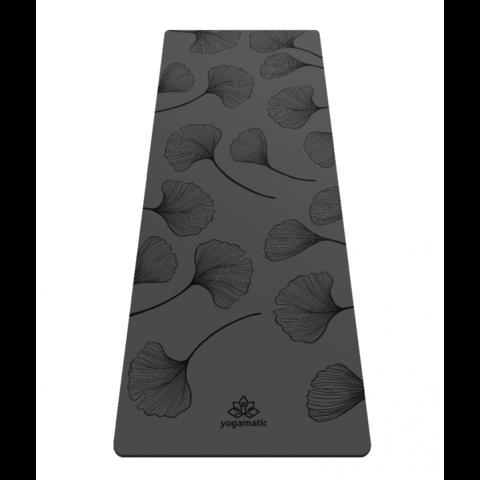 Каучуковый тревел коврик для йоги Leaf Gray 185*68*0,2 см