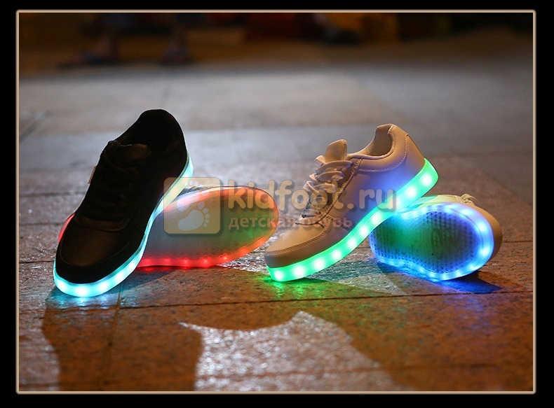 Светящиеся кроссовки с USB зарядкой Fashion (Фэшн) на шнурках, цвет черный, светится вся подошва