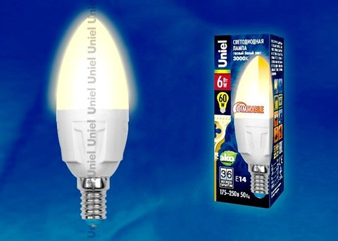 Uniel Лампа LED-C37-6W/WW/E14/FR Palazzo (свеча теплый свет)