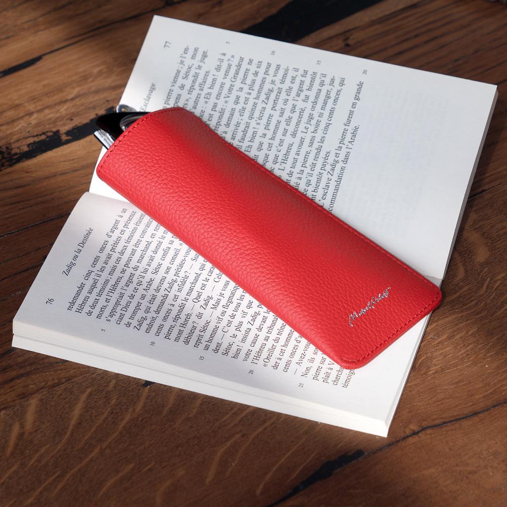 Футляр для очков Lunette Easy из натуральной кожи теленка, красного цвета