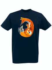 Футболка с принтом Лиса (Лисенок, fox) темно-синяя 0010