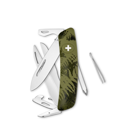Швейцарский нож SWIZA D08 Camouflage, 95 мм, 12 функций, камо зеленый