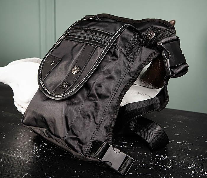 BAG397-1 Набедренная сумка черного цвета из ткани «Оксфорд» фото 04