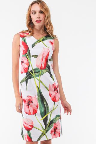 Фото летнее белое платье без рукавов с крупным цветочным принтом - Платье З460а-385 (1)