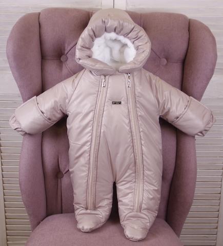 Зимний комбинезон для новорождённых Зимушка капучино