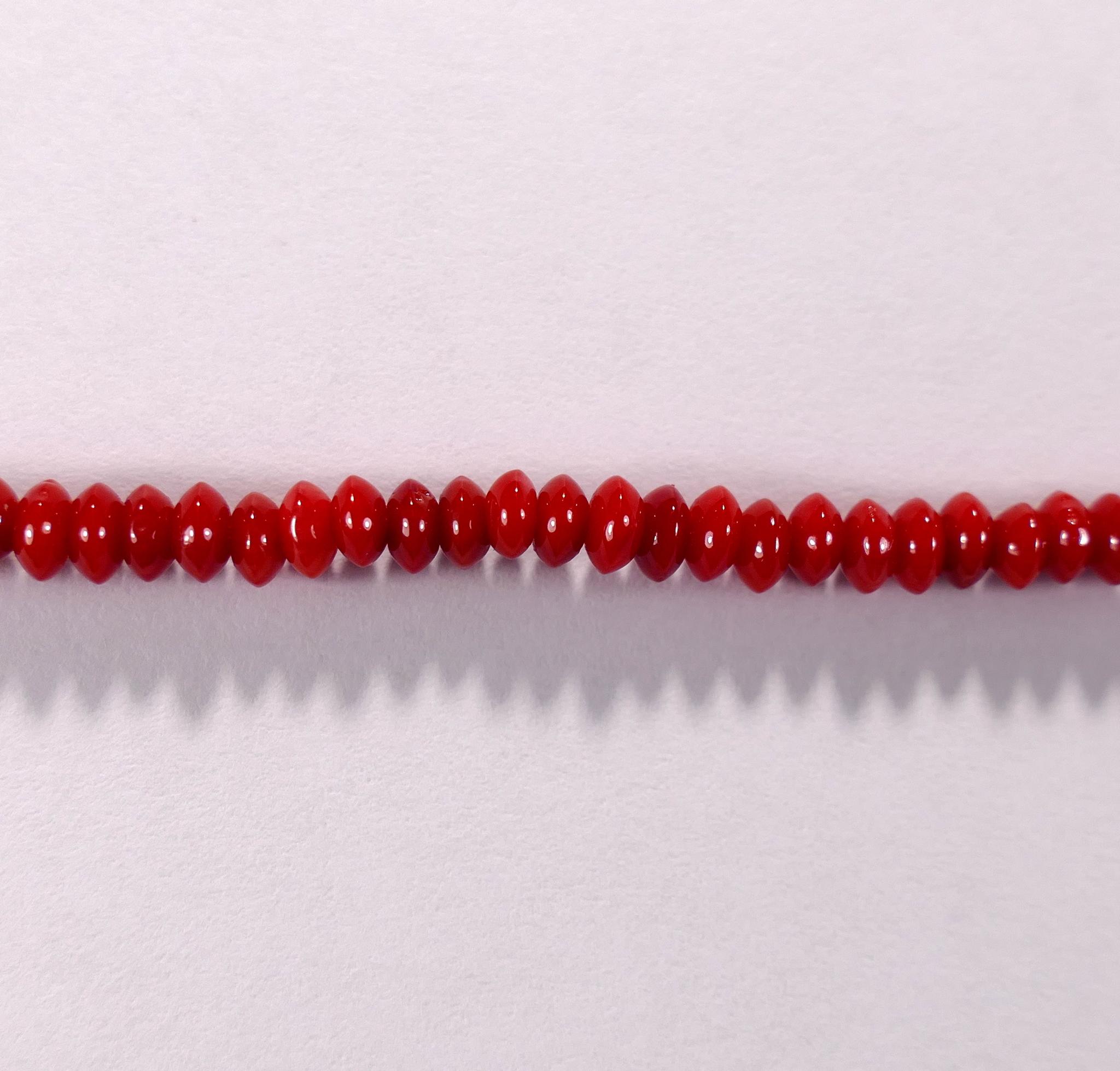 Бусина из коралла красного, облагороженного, фигурная, 2x4 мм (рондель плоская, гладкая)