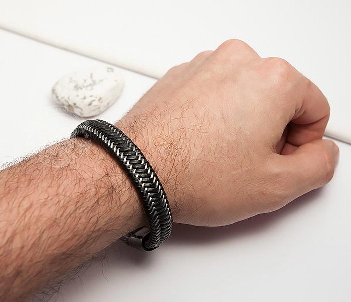 BM422 Мужской браслет из кожи со стальной проволокой (20 см) фото 06