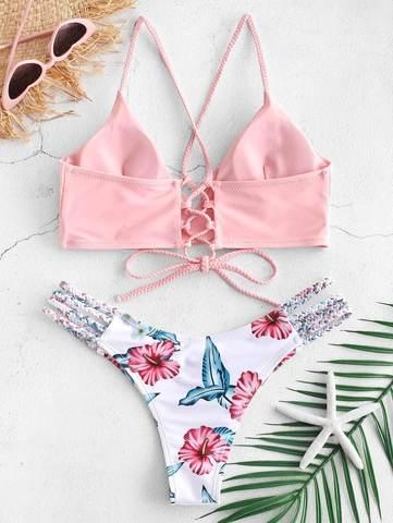 Купальник раздельный с лямками и шнуровкой сзади розовый цветочный принт 2