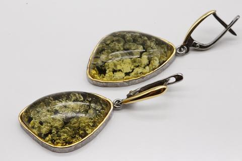 Серьги из серебра 925 пробы с янтарем Янтарная волна