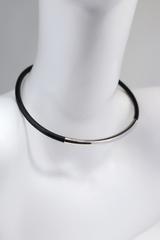 Чокер из кожи с железным молдом, черный на размер XS  оптом и в розницу