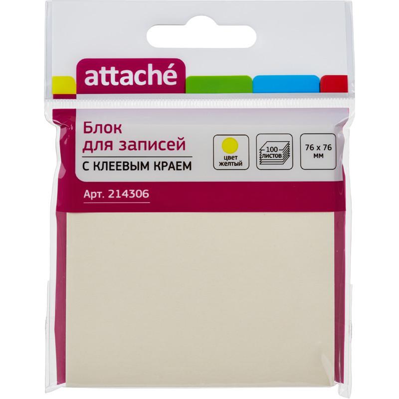Стикеры Z-сложения Attache 76х76 мм пастельные желтые для диспенсера (1 блок, 100 листов)