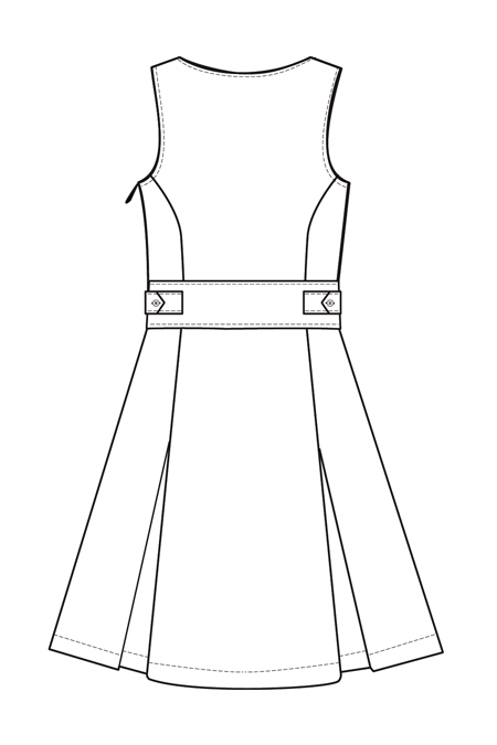 Выкройка сарафана с рельефами и встречными складками спинка