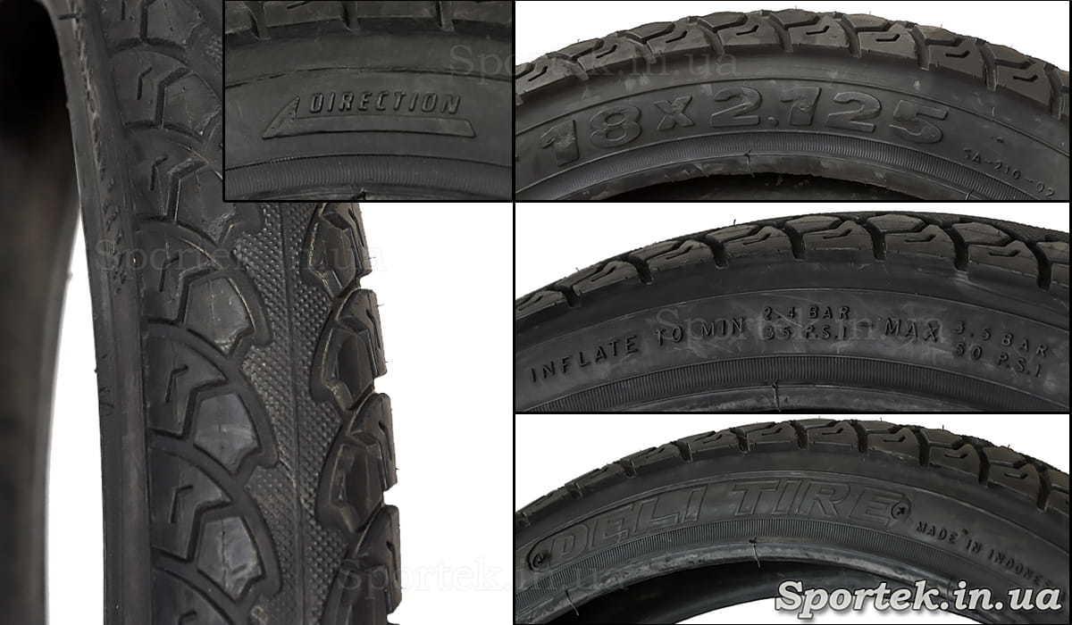 Написи на велосипедної покришці 18 х 2,125 дюйма (57-355 ISO)