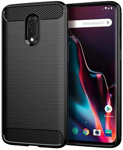 Чехол для OnePlus 7 цвет Black (черный), серия Carbon от Caseport