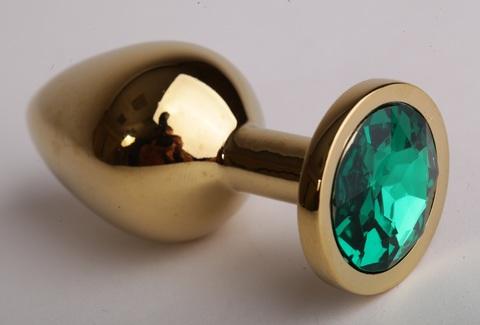 Анальная пробка золотая с зеленым кристаллом 3,4х8,2 47098-1-MM